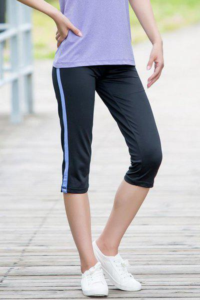 Active Elastic Waist Sport Capri Pants For Women - BLACK L
