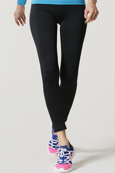 Active Elastic Waist Black Sport Pants For Women - BLACK XL