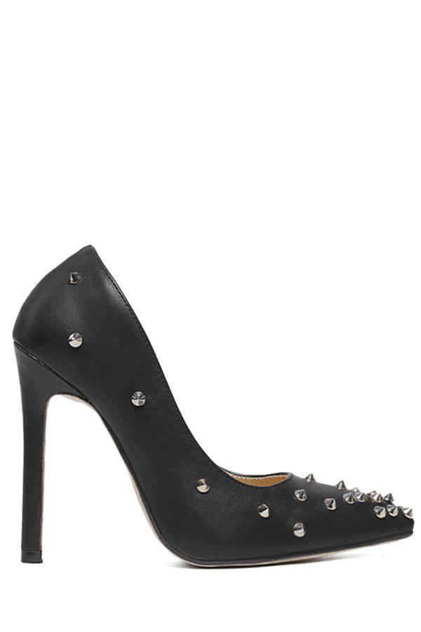 Trendy Rivets and Solid Color Design Pumps For Women - BLACK 38