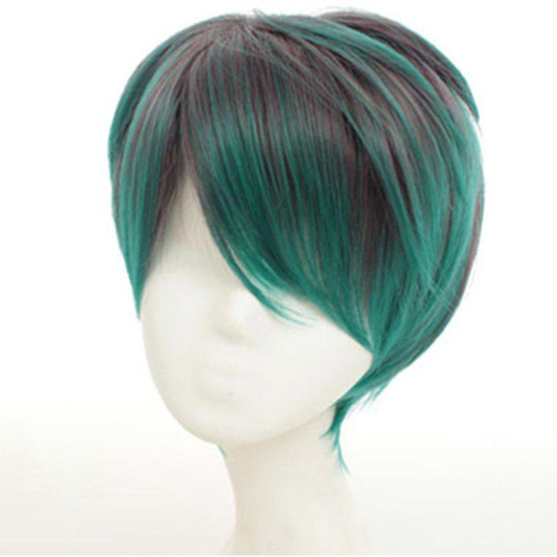 Stylish Brown Green Ombre Side Bang Short Synthetic Straight Cosplay Wig For Men - OMBRE 1211