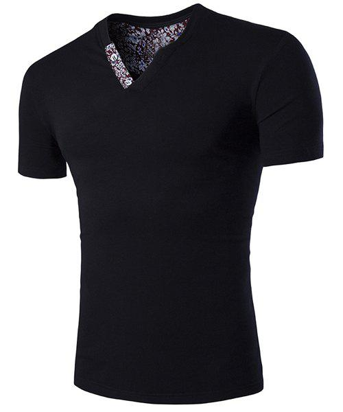 Slimming V-Neck Solid Color Short Sleeves T-Shirt For Men - BLACK M