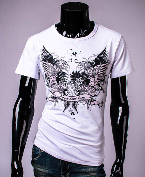 Stylish Round Neck Floral Print Letters Pattern Short Sleeve Men's T-Shirt - WHITE XL