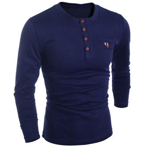 Round Neck Edging Design Long Sleeve Buttons Embellished Men's T-Shirt - CADETBLUE L