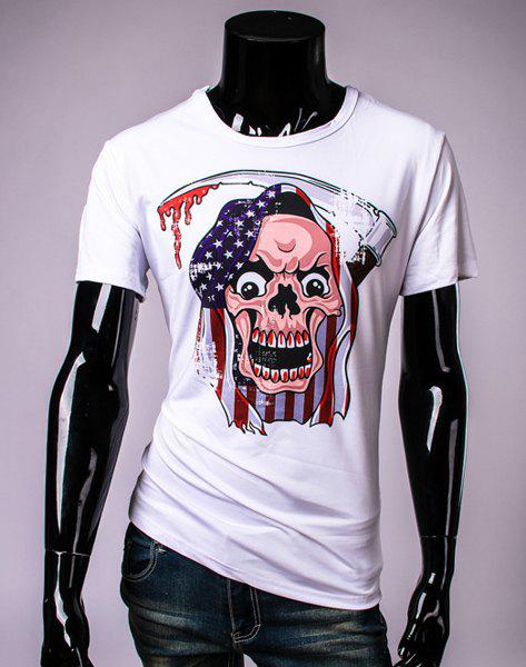 Stylish Round Neck Stars Print Skull Pattern Short Sleeve Men's T-Shirt - M WHITE