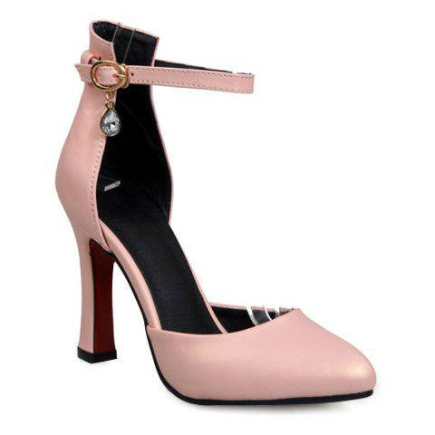 Fashionable Two-Piece and Rhinestone Design Women's Pumps - PINK 37