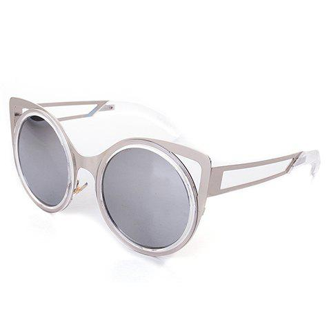Chic Hollow Out Cat Ear Shape and Silver Match Design Women's Sunglasses - GRAY