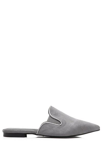 Simple Solid Color and Pointed Toe Design Slippers For Women - GRAY 39