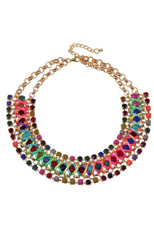Ethnic Bohemia Faux Gemstone Chunky Necklace For Women - COLORMIX