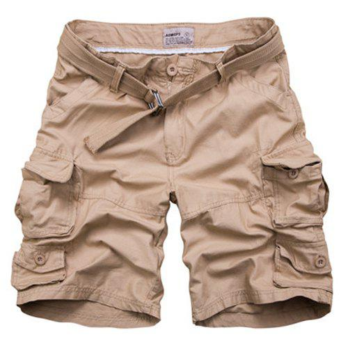 Zip Fly Loose Fit Fifth Cargo Shorts With Belt For Men, KHAKI, M ...