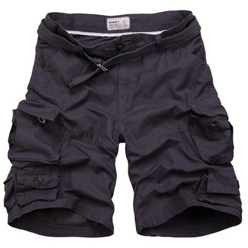 Zip Fly Loose Fit Fifth Cargo Shorts With Belt For Men - DEEP GRAY M