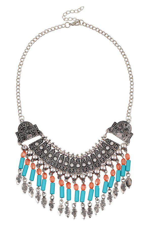 Vintage Chunky Arc Carving Tassel Necklace For Women - SILVER