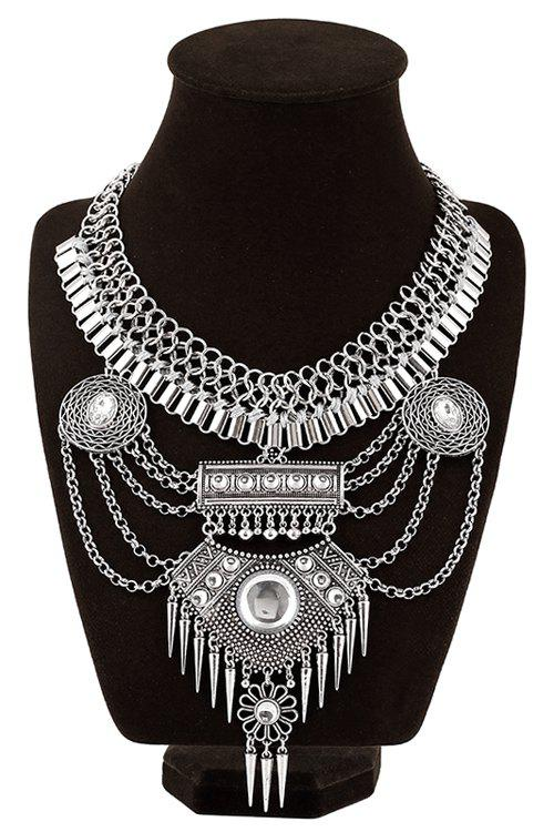 Chunky Multilayered Faux Turquoise Tassel Necklace - SILVER