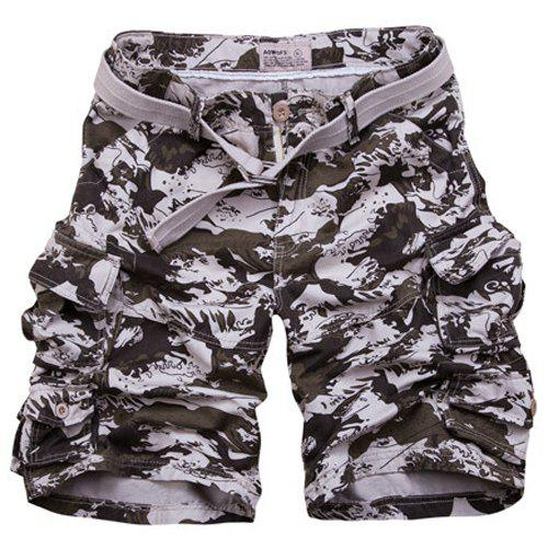 Zipper Fly Loose Fit Camo Fifth Cargo Shorts With Belt For Men - CAMOUFLAGE M