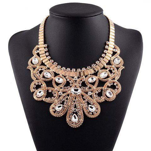 Faux Crystal Rhinestoned Water Drop Necklace - GOLDEN