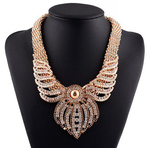 Hollow Out Rhinestoned Necklace - GOLDEN