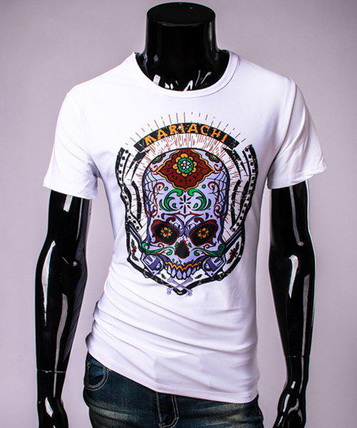 Modish Round Neck Extraordinary Skull Pattern Short Sleeve Men's T-Shirt - WHITE 2XL