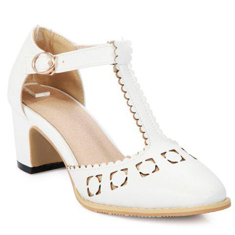 Stylish Hollow Out and T-Strap Design Women's Pumps - WHITE 38
