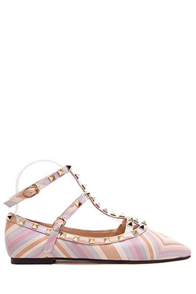 Trendy Rivet and Color Block Design Flat Shoes For Women - 38 PINK