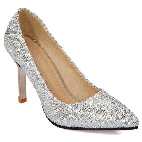 Fashionable Pointed Toe and Solid Colour Design Women's Pumps - SILVER 39