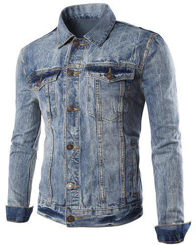 Pocket Design Turn Down Collar Single Breasted Denim Jacket For Men - LIGHT BLUE 2XL