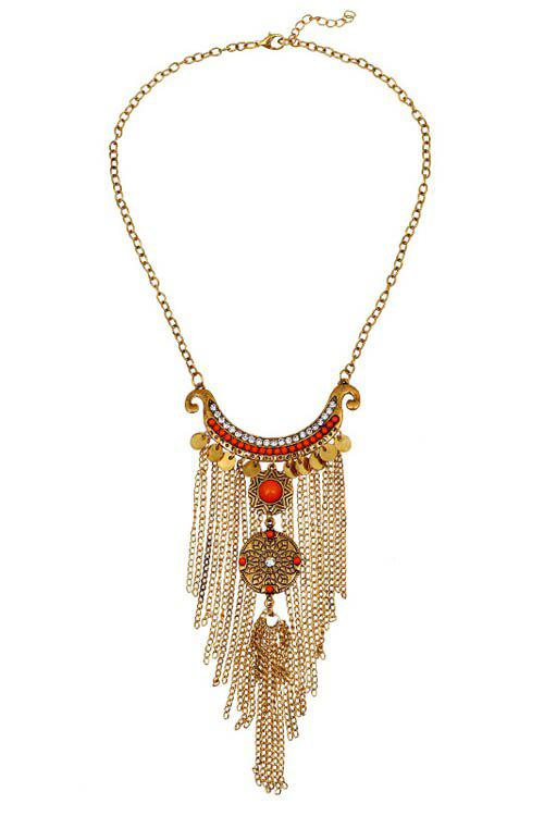 Vintage Round Pieces Link Chain Tassel Necklace - GOLDEN