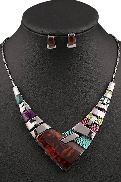A Suit of Stylish Resin V Shape Necklace and Earrings For Women - COLORMIX