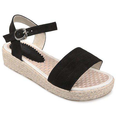 Casual Suede and Buckle Strap Design Sandals For Women - BLACK 36