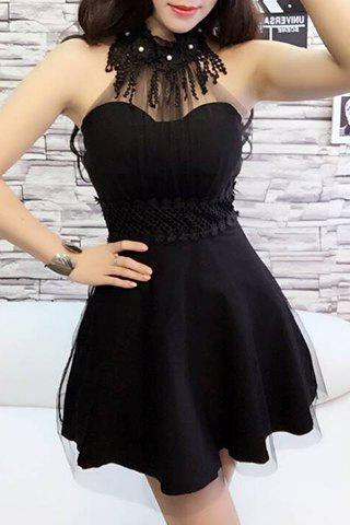 Sexy Ruff Collar Sleeveless Solid Color Women's Flare Dress - BLACK ONE SIZE(FIT SIZE XS TO M)