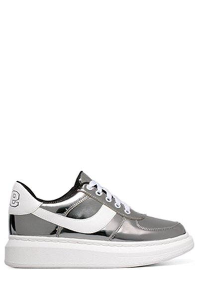 Trendy Color Block and Lace-Up Design Sneakers For Women - GUN METAL 36
