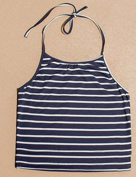 Stylish Halter Sleeveless Striped Slimming Women's Tank Top - L BLUE/WHITE