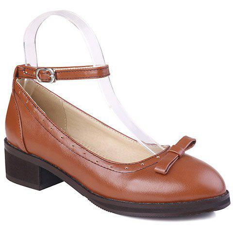 Fashionable Round Toe and Bow Design Women's Flat Shoes - BROWN 36