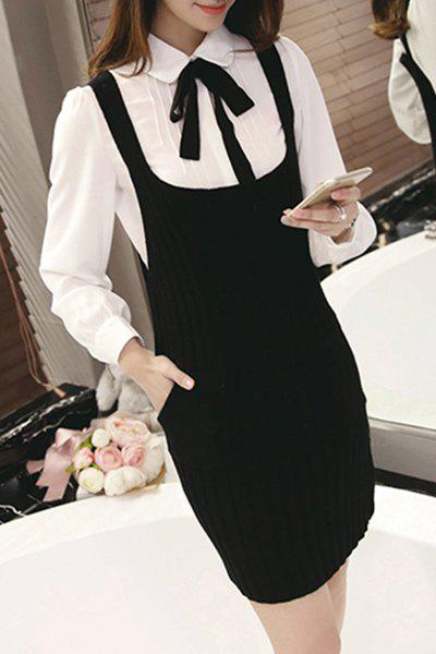 Preppy Double Pocket Design Women's Sweater Suspender Dress - BLACK ONE SIZE(FIT SIZE XS TO M)