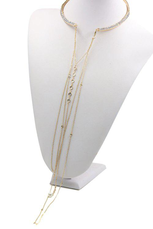 Delicate Rhinestoned Tassel Torque Necklace For Women - GOLDEN