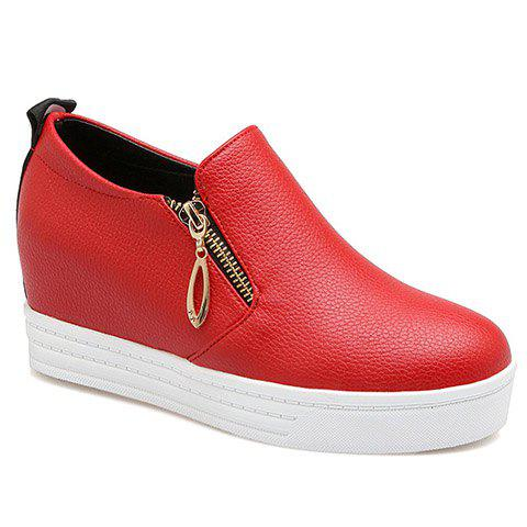 Concise Zipper and Letter Design Women's Wedge Shoes - RED 38
