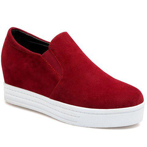 Simple Solid Colour and Suede Design Women's Wedge Shoes - RED 38