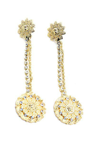Pair of Trendy Baroque Style Rhinestone Flower Earrings For Women