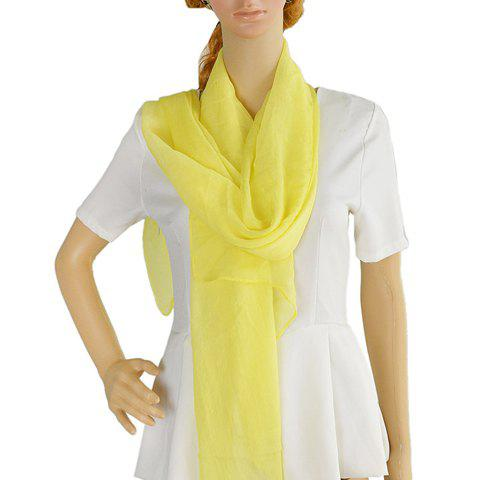 Stylish Simple Design Candy Color Voile Scarf For Women - LEMON YELLOW