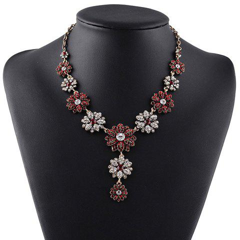 Rhinestoned Sun Flower Pendant Necklace - GOLD/RED
