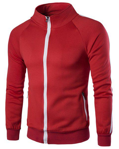 Slimming Stand Collar Long Sleeves Zip Solid Color Sweatshirt For MenMen<br><br><br>Size: M<br>Color: RED