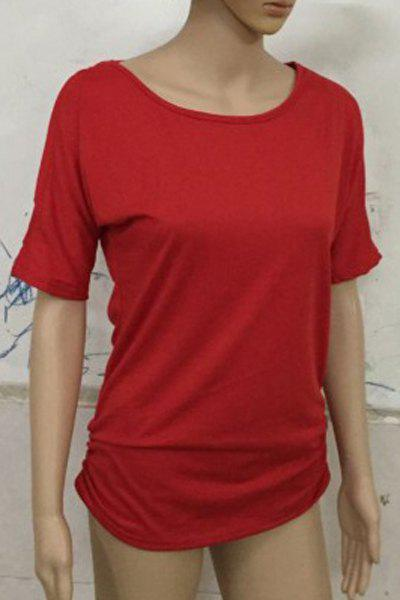 Stylish Scoop Neck Short Sleeve Solid Color Hollow Out Women's T-Shirt - RED M