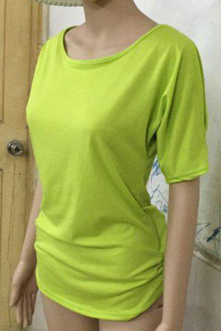 Stylish Scoop Neck Short Sleeve Solid Color Hollow Out Women's T-Shirt - NEON GREEN XL