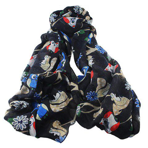 Stylish Night Owl and Squirrel Pattern Voile Scarf For Women - BLACK