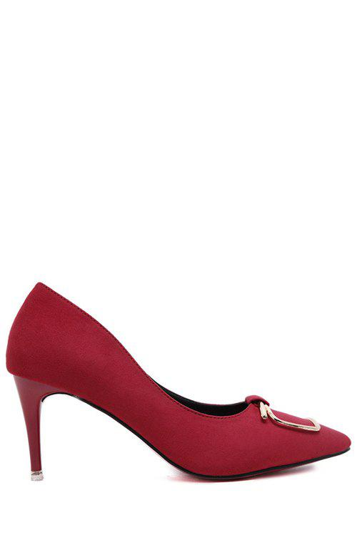 Simple Metal and Ponited Toe Design Pumps For Women - RED 39