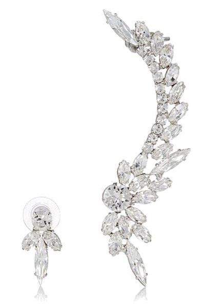 Delicate Asymmetric Rhinestoned Flower Earrings For Women - WHITE