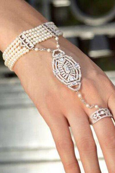 Multi-Layered Faux Pearl Rhinestone Bracelet With Ring - WHITE ONE-SIZE