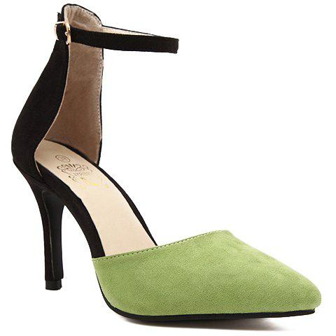 Trendy Two-Piece and Flock Design Women's Pumps - GREEN 35