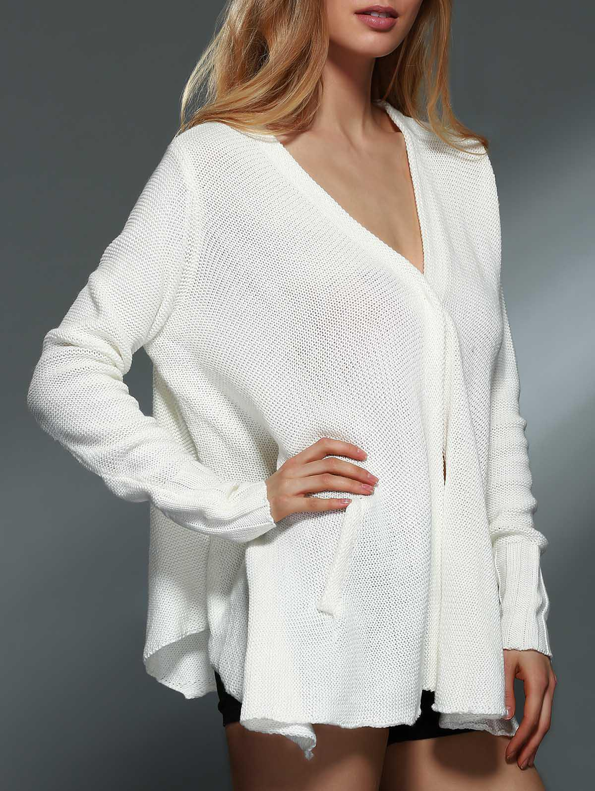 Trendy Solid Color V-Neck Long Sleeve Asymmetric Cardigan For Women - OFF WHITE XL