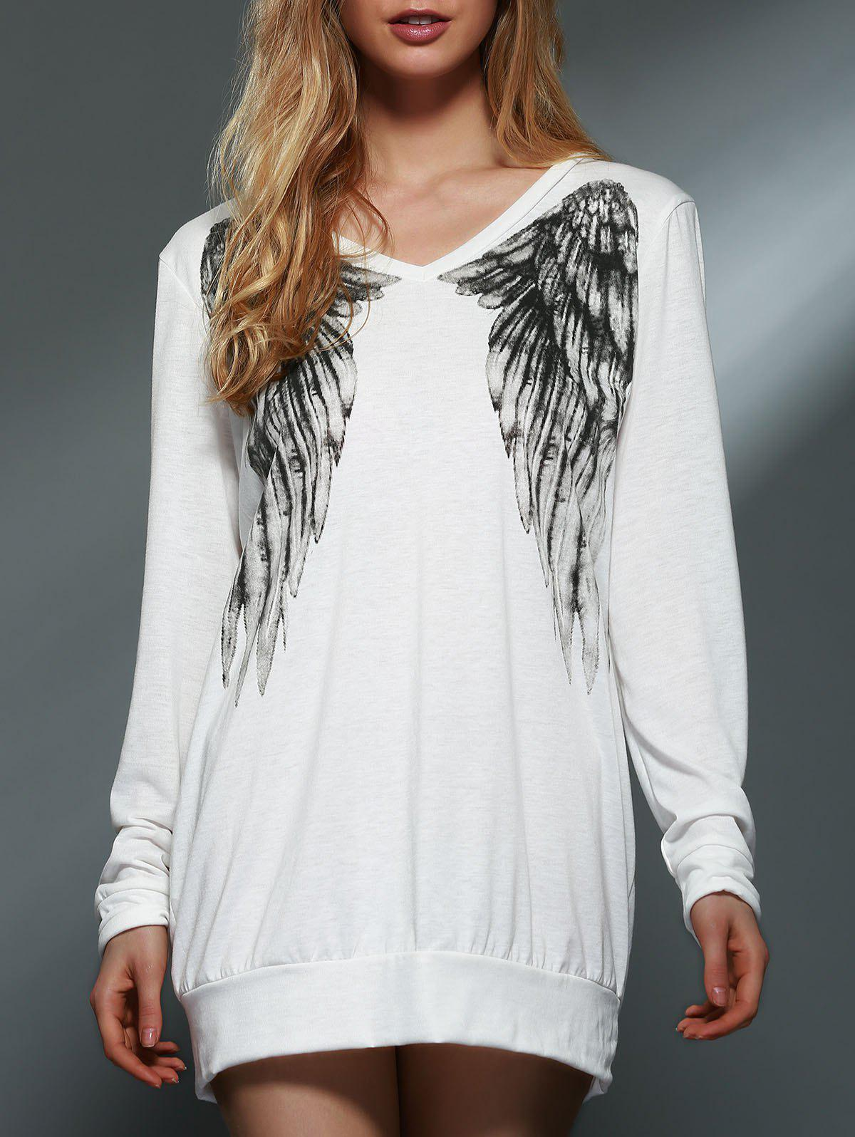 Trendy Back Wing Printed Long Sleeve Pullover Sweatshirt For Women - WHITE L