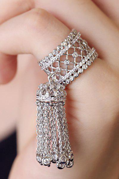 Chic Rhinestoned Hollow Out Tassel Ring For Women - WHITE GOLDEN ONE-SIZE