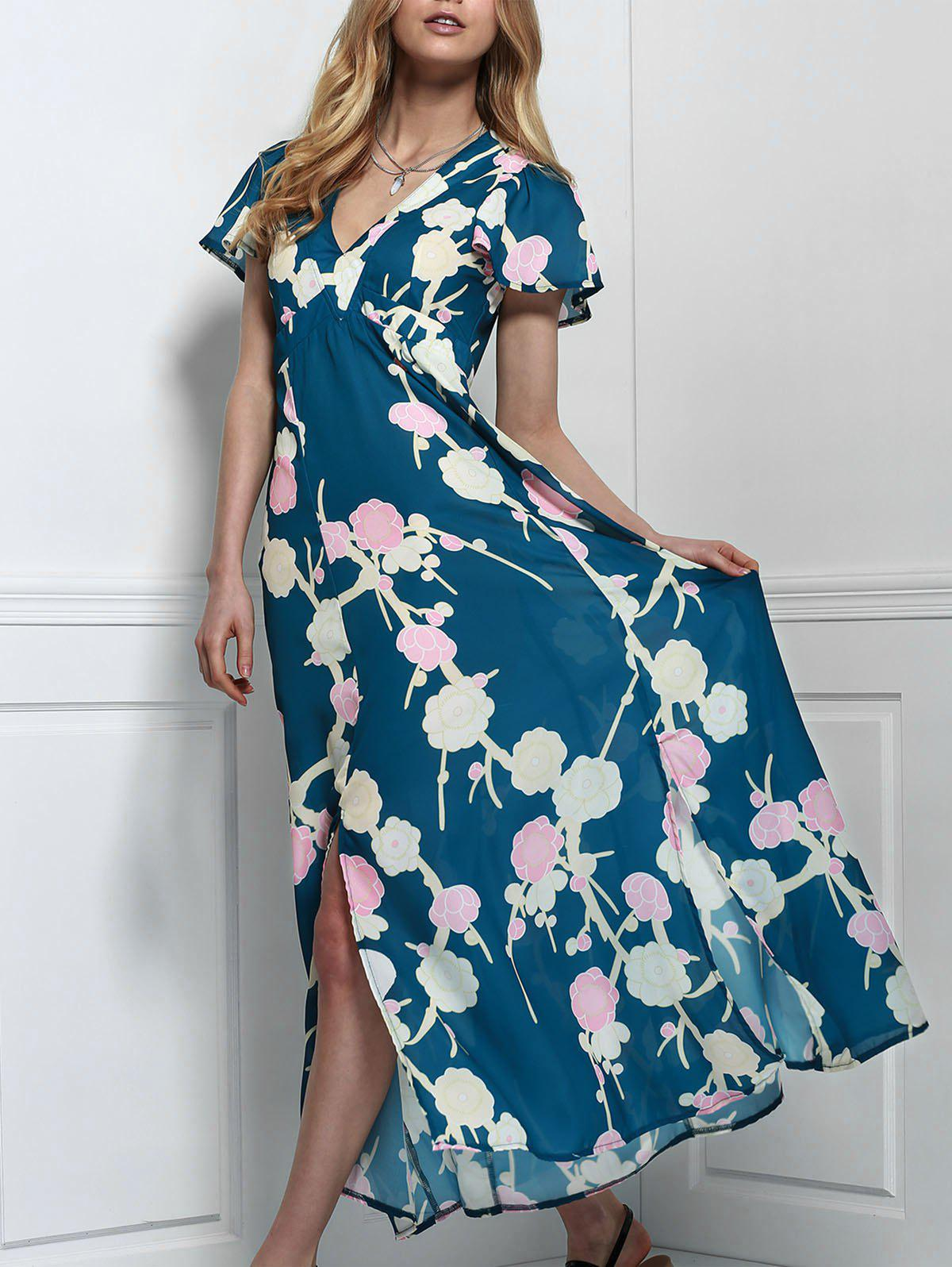 Stylish V-Neck Short Sleeve Floral Print Maxi Women's Dress - GREEN S